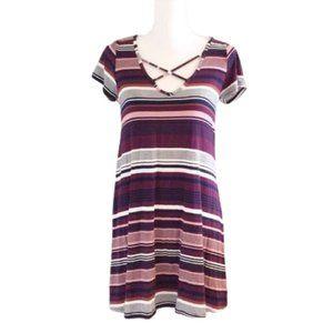 SOCIALITE: stripped cross shirt dress
